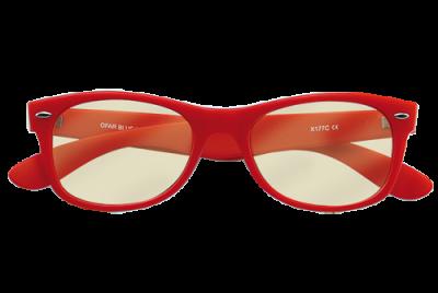 Bril rood zonder sterkte met blueblock filter voorkant